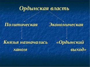 Ордынская власть Политическая Экономическая Князья назначались «Ордынский хан