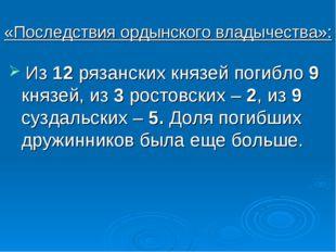 «Последствия ордынского владычества»: Из 12 рязанских князей погибло 9 князей