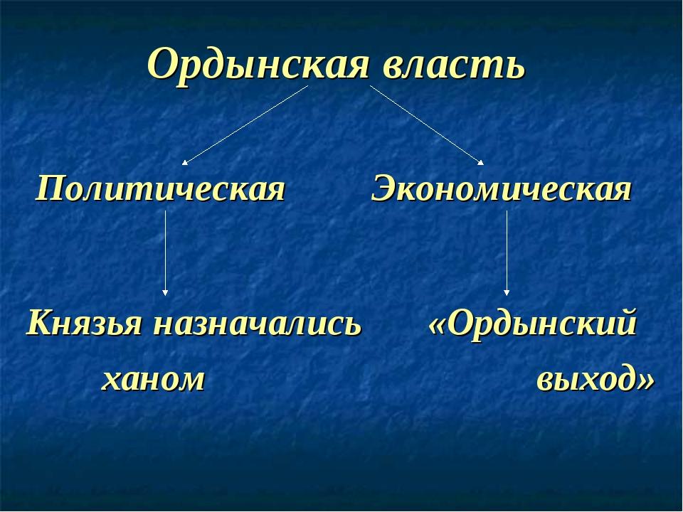 Ордынская власть Политическая Экономическая Князья назначались «Ордынский хан...