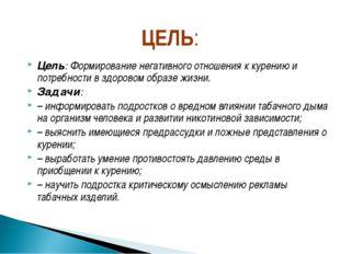 Цель: Формирование негативного отношения к курению и потребности в здоровом о
