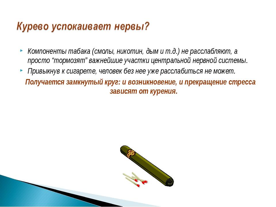 """Компоненты табака (смолы, никотин, дым и т.д.) не расслабляют, а просто """"торм..."""