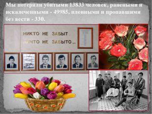 Мы потеряли убитыми 13833 человек, ранеными и искалеченными - 49985, пленными
