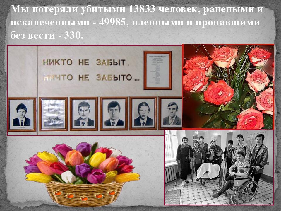 Мы потеряли убитыми 13833 человек, ранеными и искалеченными - 49985, пленными...