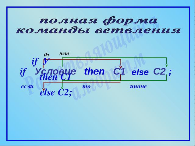 if если то иначе Условие then C1 else ; да нет C2 if У then C1 else C2;