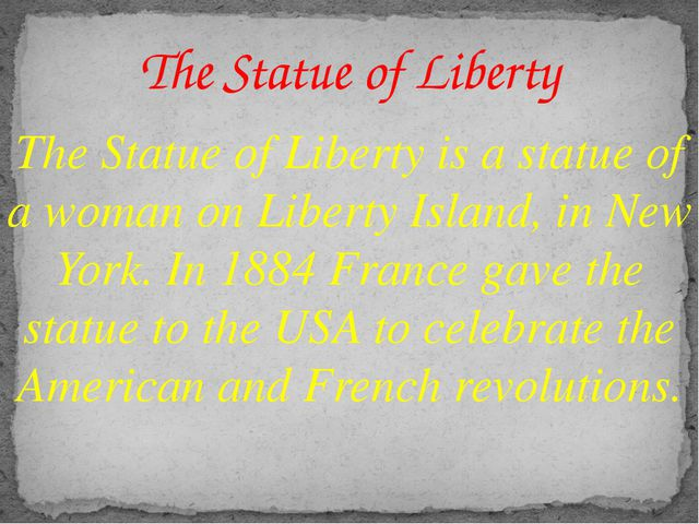 The Statue of Liberty is a statue of a woman on Liberty Island, in New York....