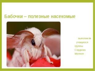 Бабочки – полезные насекомые выполнили учащиеся группы Сердюка Матвея