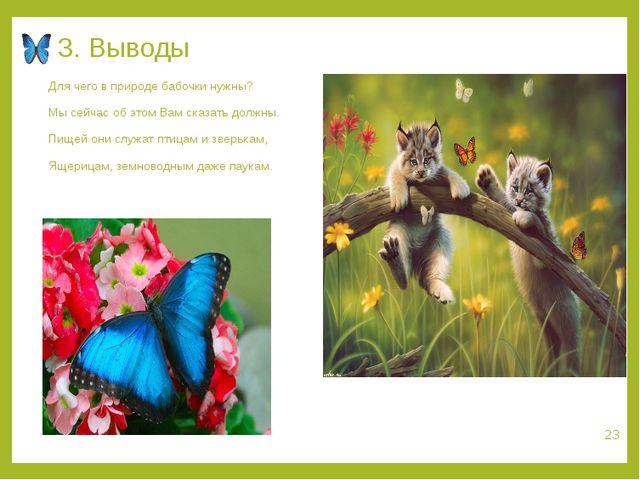 3. Выводы Для чего в природе бабочки нужны? Мы сейчас об этом Вам сказать дол...