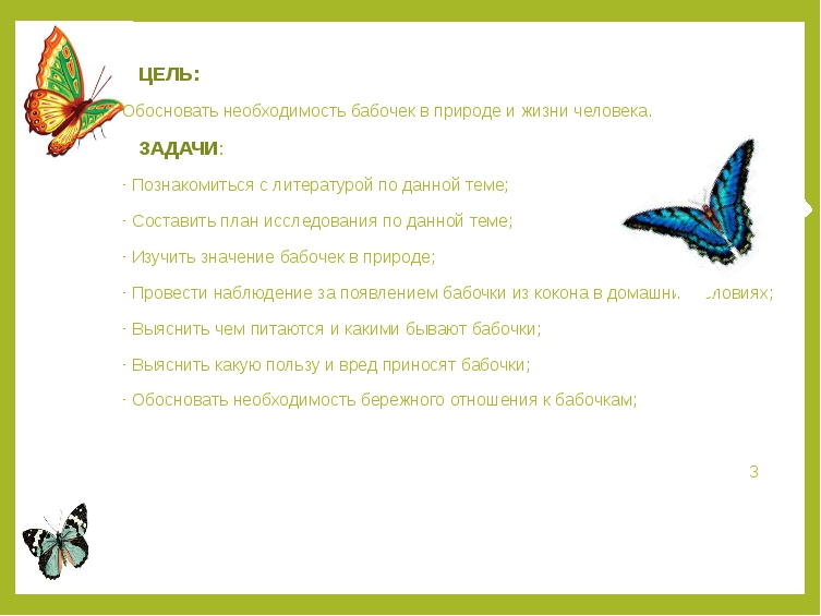 ЦЕЛЬ: Обосновать необходимость бабочек в природе и жизни человека. ЗАДАЧИ: П...