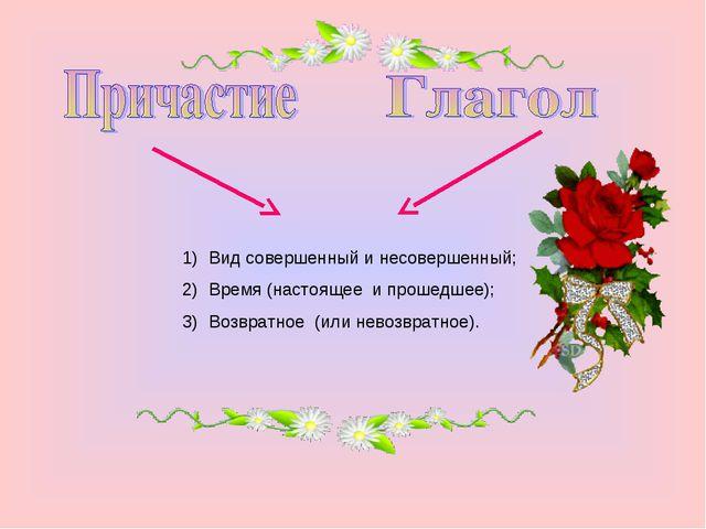 Вид совершенный и несовершенный; Время (настоящее и прошедшее); Возвратное (и...