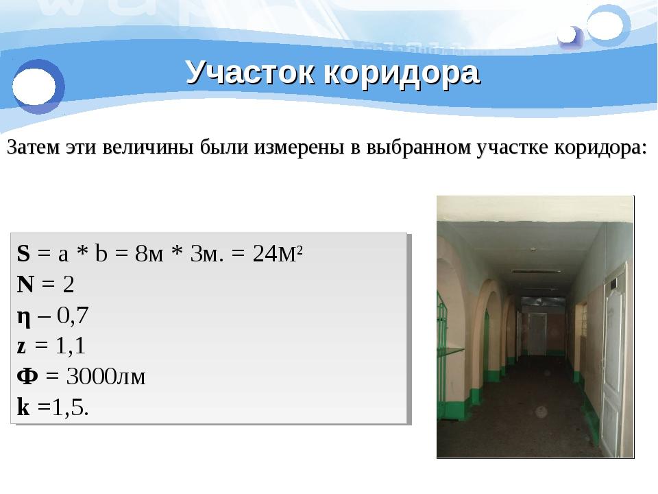 Участок коридора Затем эти величины были измерены в выбранном участке коридор...