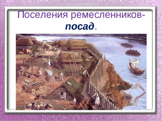 Поселения ремесленников-посад.
