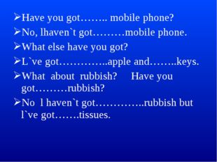 Have you got…….. mobile phone? No, lhaven`t got………mobile phone. What else hav