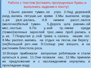 Работа с текстом (вставить пропущенные буквы и выполнить задания к тексту) 1