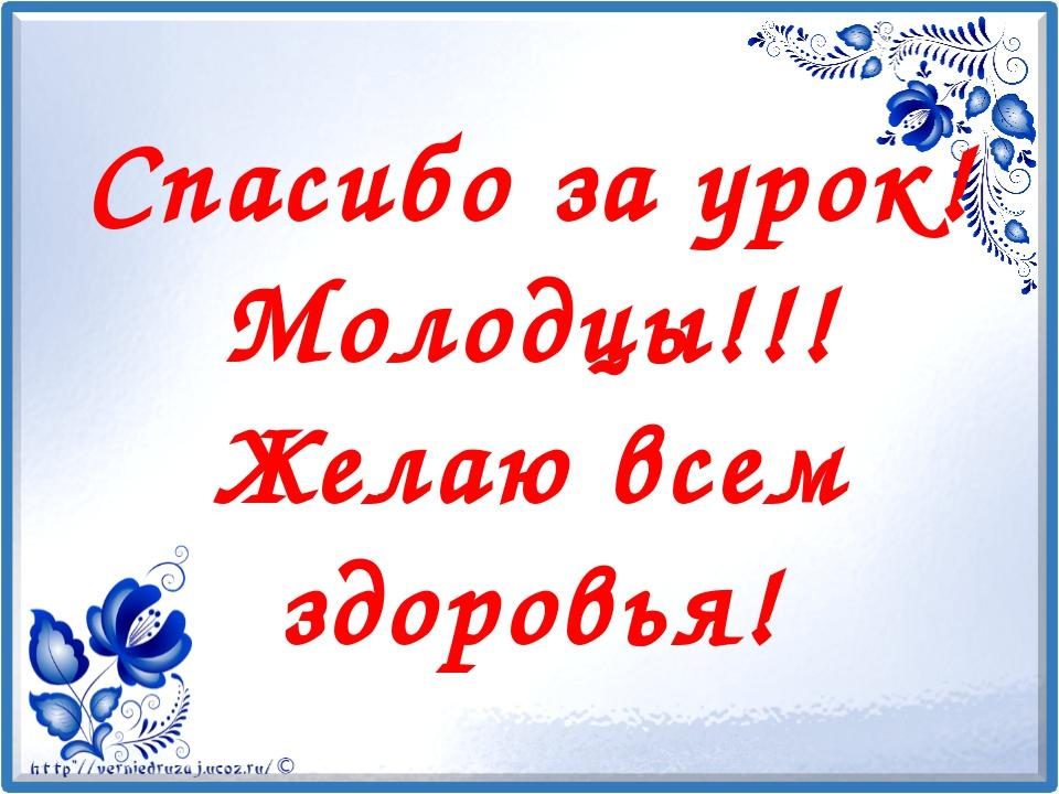Спасибо за урок! Молодцы!!! Желаю всем здоровья!