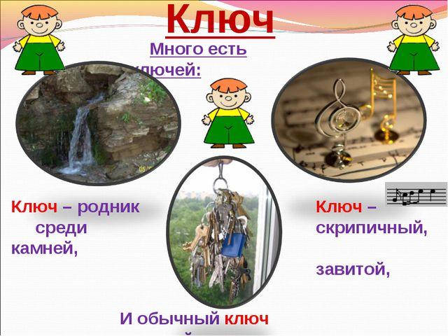 Ключ Много есть ключей: Ключ – родник среди камней, Ключ – скрипичный, завито...