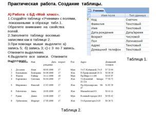 Практическая работа. Создание таблицы. А) Работа с БД «Мой класс». Создайте т
