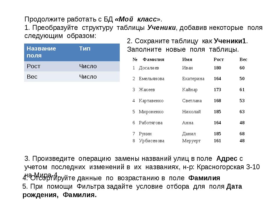 Продолжите работать с БД «Мой класс». 1. Преобразуйте структуру таблицы Учени...
