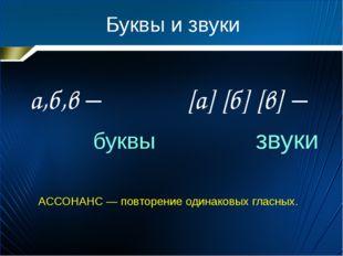 Буквы и звуки а,б,в – буквы [а] [б] [в] – звуки АССОНАНС — повторение одинако