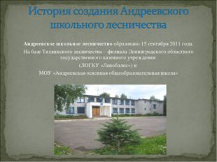 Андреевское школьное лесничество образовано 15 сентября 2011 года. На базе Ти