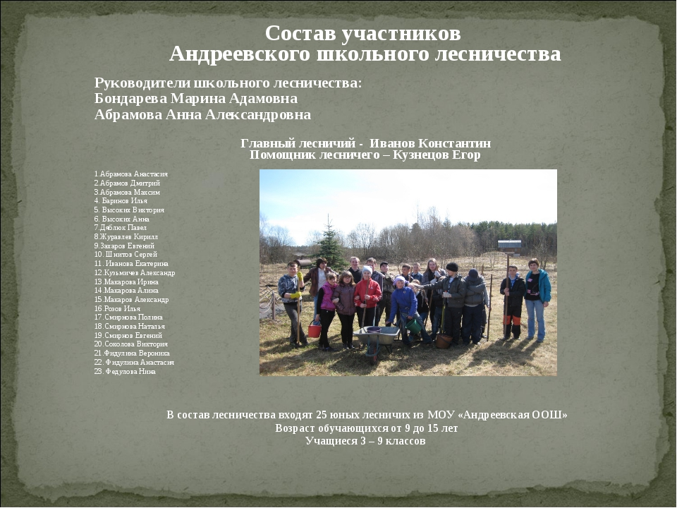 Состав участников Андреевского школьного лесничества Руководители школьного л...