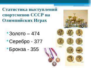 Статистика выступлений спортсменов СССР на Олимпийских Играх Золото – 474 Сер