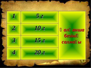 20 г 4 15 г 3 10 г 2 Қалқанша безінің салмағы 5 г 1