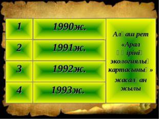 1993ж. 4 1992ж. 3 1991ж. 2 Алғаш рет «Арал өңірінің экологиялық картасының» ж