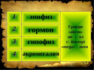 акромегалия 4 гипофиз 3 гормон 2 Грекше «akros» аяқ‑қол сүйектері «mega» үлке
