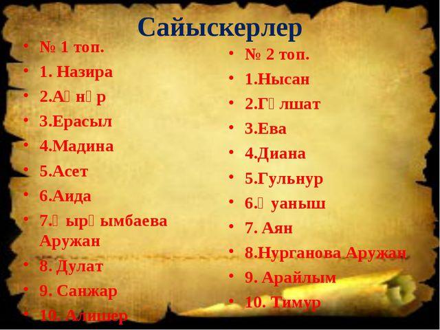 Сайыскерлер № 1 топ. 1. Назира 2.Ақнұр 3.Ерасыл 4.Мадина 5.Асет 6.Аида 7.Қырқ...
