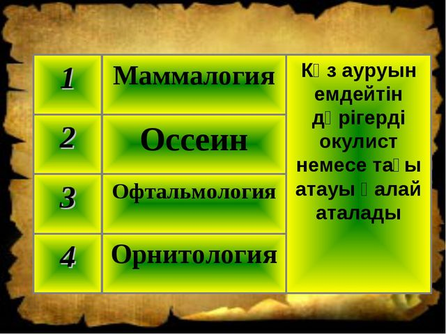 Орнитология 4 Офтальмология 3 Оссеин 2 Көз ауруын емдейтін дәрігерді окулист...