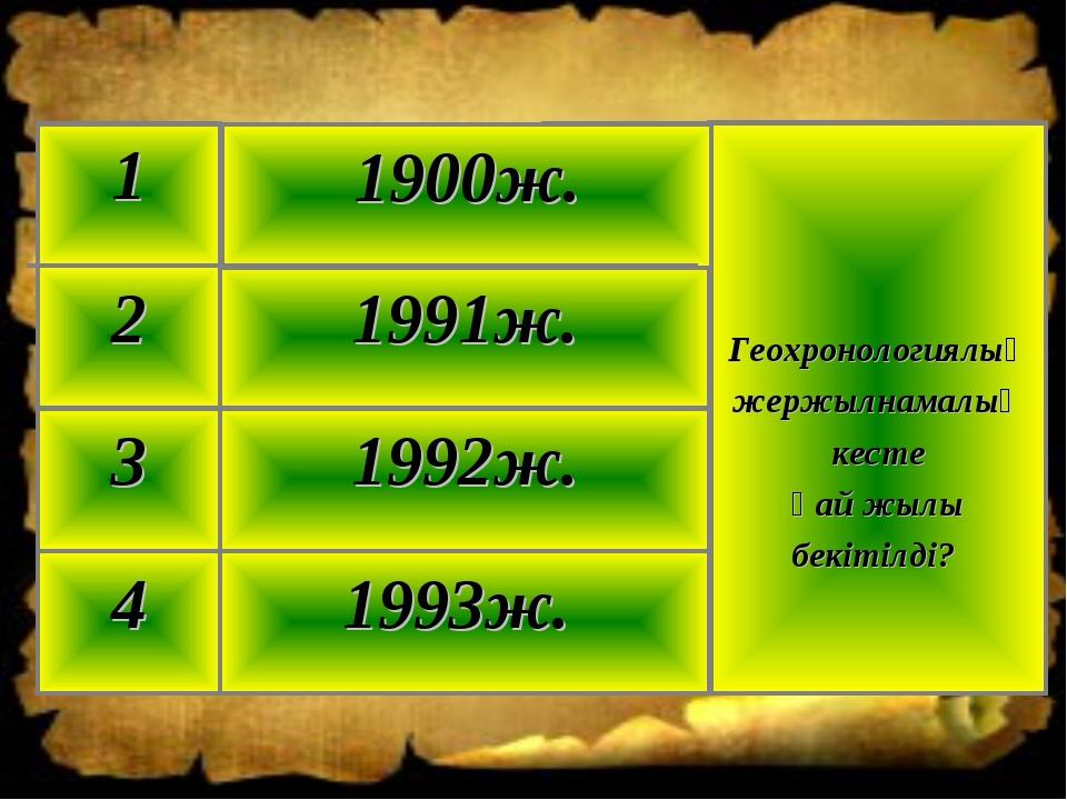 1993ж. 4 1992ж. 3 1991ж. 2 Геохронологиялық жержылнамалық кесте қай жылы бекі...