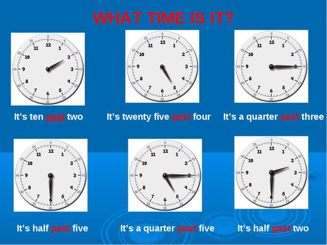 WHAT TIME IS IT? It's ten past two It's twenty five past four It's a quarter...