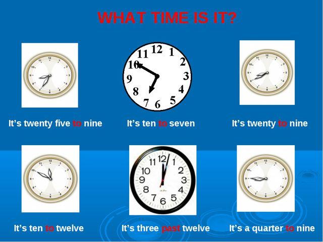 It's twenty five to nine It's ten to twelve It's twenty to nine It's a quarte...