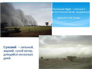 Пыльные бури – сильный и продолжительный ветер, выдувающий верхний слой почвы