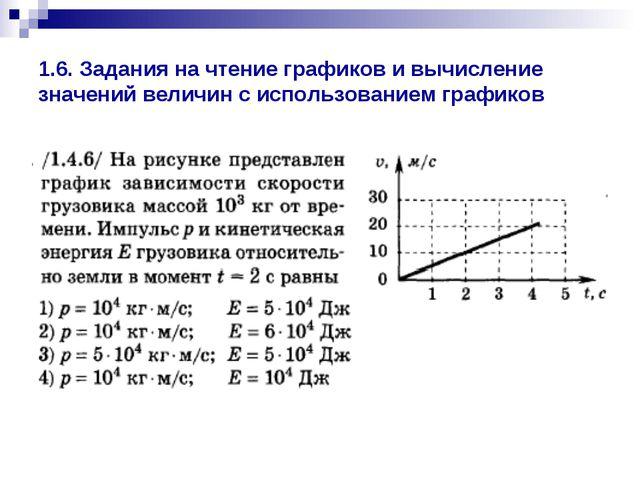 1.6. Задания на чтение графиков и вычисление значений величин с использование...