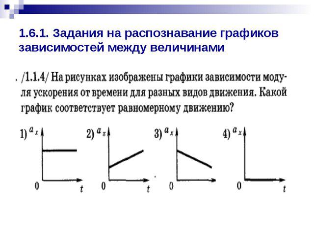 1.6.1. Задания на распознавание графиков зависимостей между величинами
