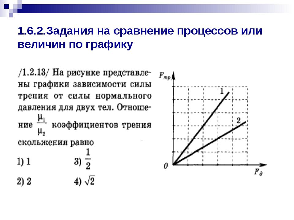 1.6.2.Задания на сравнение процессов или величин по графику