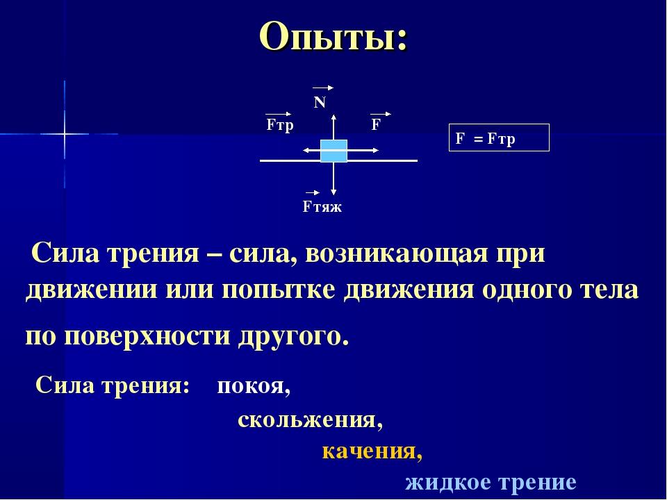 Опыты: F Fтр N Fтяж а=0, РПД F = Fтр Сила трения – сила, возникающая при движ...