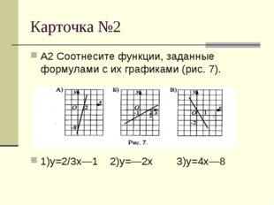 Карточка №2 А2 Соотнесите функции, заданные формулами с их графиками (рис. 7)