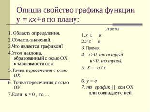Опиши свойство графика функции у = кх+в по плану: 1. Область определения. 2.О