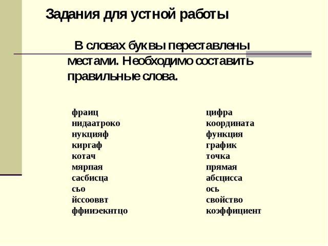 В словах буквы переставлены местами. Необходимо составить правильные слова....