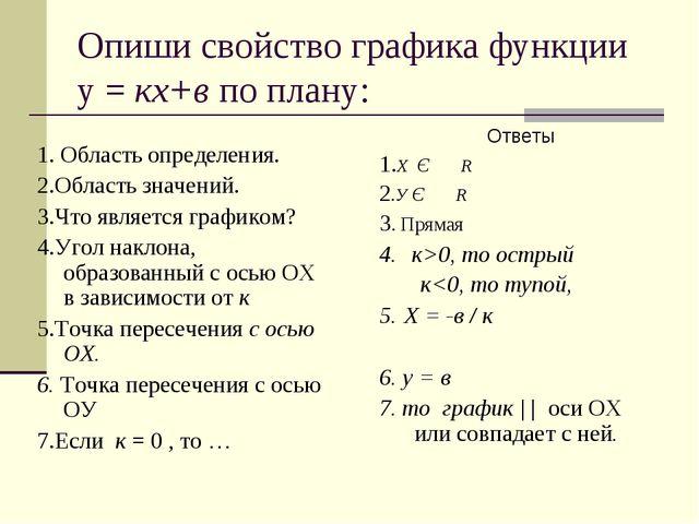 Опиши свойство графика функции у = кх+в по плану: 1. Область определения. 2.О...