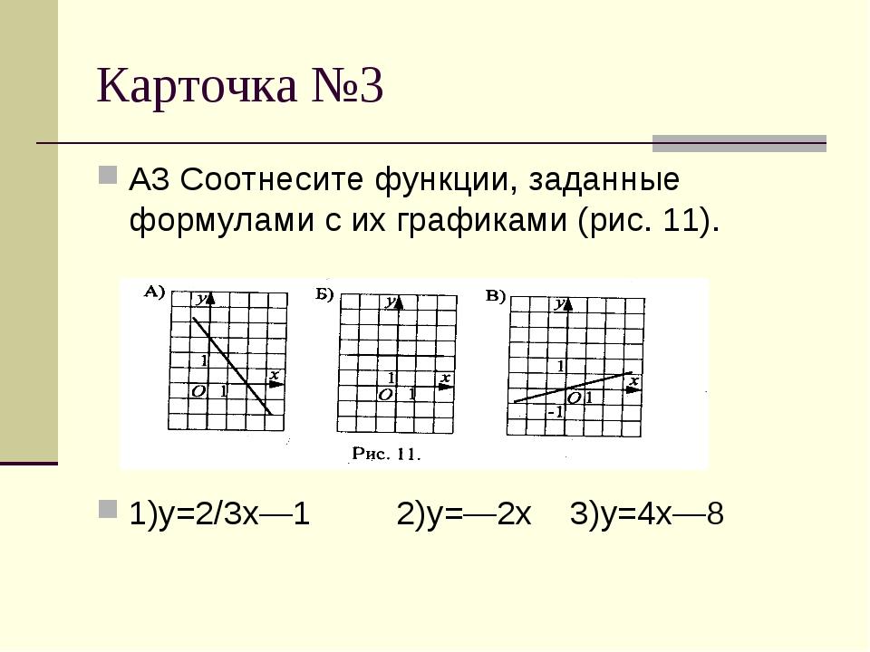 Карточка №3 А3 Соотнесите функции, заданные формулами с их графиками (рис. 11...