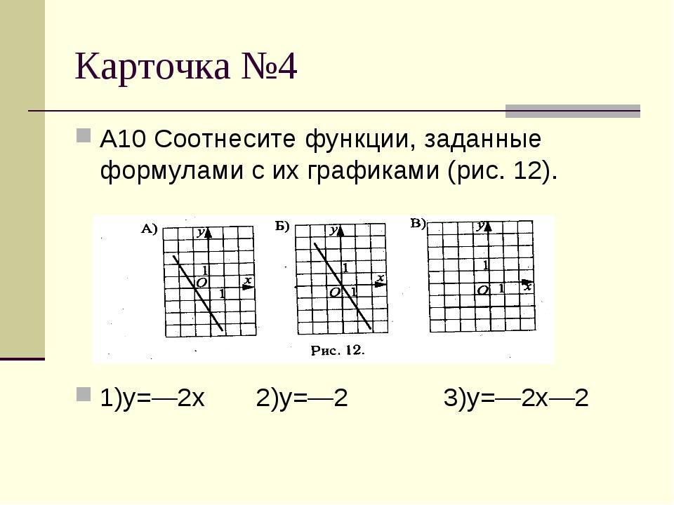 Карточка №4 А10 Соотнесите функции, заданные формулами с их графиками (рис. 1...