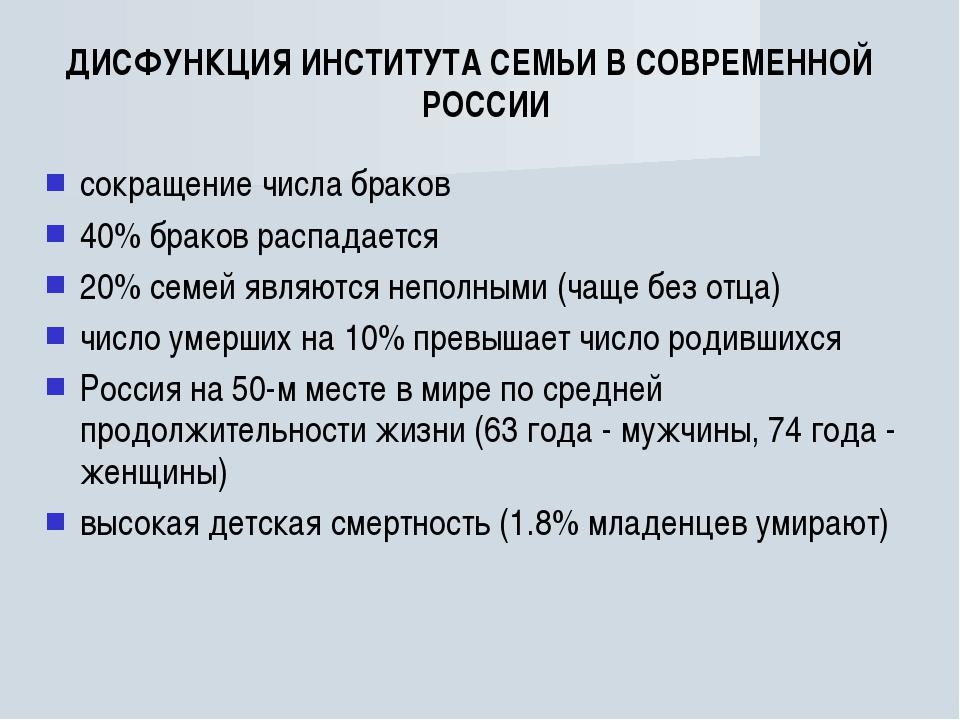 ДИСФУНКЦИЯ ИНСТИТУТА СЕМЬИ В СОВРЕМЕННОЙ РОССИИ сокращение числа браков 40% б...