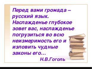 Перед вами громада – русский язык. Наслажденье глубокое зовет вас, наслаждень