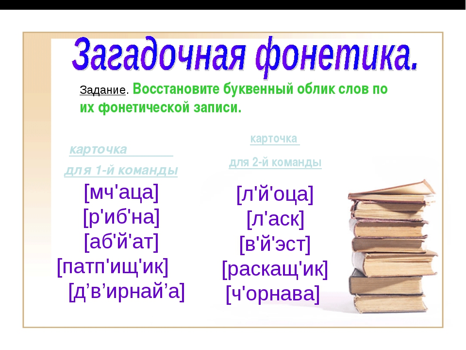 Задание. Восстановите буквенный облик слов по их фонетической записи. карточк...
