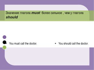 You must call the doctor. You should call the doctor. Значение глагола must б