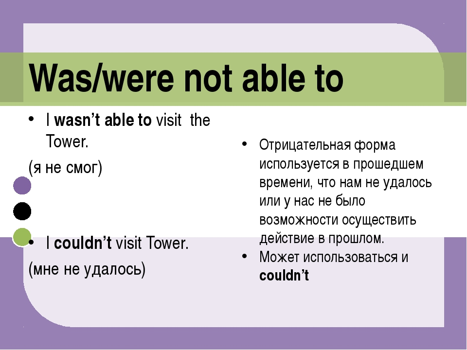 I wasn't able to visit the Tower. (я не смог) I couldn't visit Tower. (мне не...