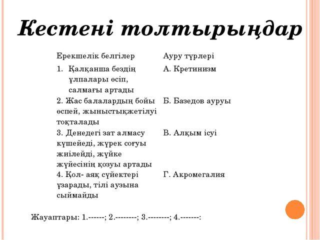 Кестені толтырыңдар Жауаптары: 1.------; 2.--------; 3.--------; 4.-------: Е...